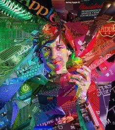 Steve Jobs collage portrait for ALFA magazine in Brazil.