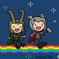 Nyan Thor and Loki, adorable (GIF) .