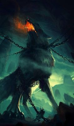 """Fenrir, la terreur des Ases """"Why yes, we did fight a giant fire-breathing wolf, didn't we? Dark Fantasy Art, Fantasy Kunst, Fantasy Artwork, Fantasy World, Dark Art, Mythical Creatures Art, Mythological Creatures, Anime Wolf, Vikings"""