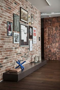 completed diy reclaimed brick accent wall. new england mill blend