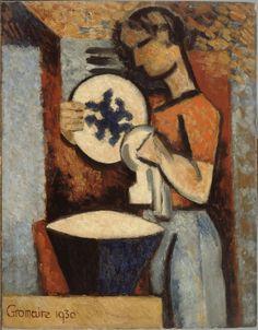 Marcel Gromaire (France 1892-1971) La Femme au platoil on wood 41.5 .5 x 32 cm