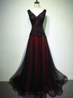 A Line Prom Dresses, Black Wedding Dresses, Formal Dresses, Short Dresses, Pretty Dresses, Beautiful Dresses, Beaded Prom Dress, Beaded Lace, Fantasy Gowns