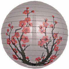"14"" Japanese Plum Tree Paper Lantern - Party Home & Wedding Decoration"