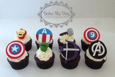 Avengers cupcakes (Ironman, Captain America, Thor, Hulk, Hawkeye, Avengers symbol)