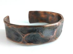 Mens Copper Bracelet Cuff Rustic Antique Oxidized Patina Earthy Organic Forged - Thumbprint Impressions II - Hammered Tribal Ethnic via Etsy