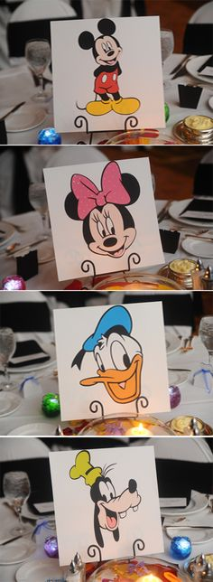 Mickey, Minnie, Donald & Goofy reception table cards #disney