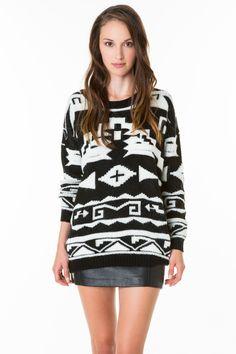 #aztec print #jumper #boho look #TALLYWEiJL http://www.tally-weijl.net/p/cardigans-pullover/schwarz-weisser-pullover-mit-muster/puacbevitage-blkbge004?categoryId=26079