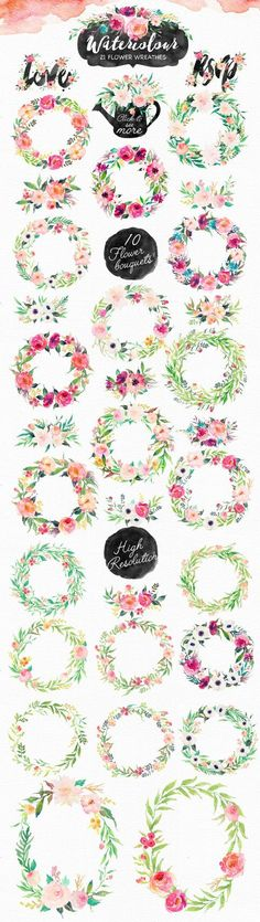 Watercolor DIY pack art Pre-designed logos/Seamless pattern/Individual PNG files/Hand Painted Off-Aquarell DIY Pack / Hochzeit / ClipArt Watercolor Clipart, Floral Watercolor, Watercolor Water, Free Watercolor Flowers, Watercolor Flower Wreath, Watercolor Images, Watercolor Design, Wedding Clip, Blog Logo