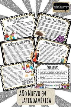 #NewYearsResolutions #Propositos #12Uvas #Fiestas Lecturas de tradiciones de año nuevo en Latinoamérica con actividades de escritura sobre los propósitos de año nuevo y lo que se quiere dejar atrás en el año viejo. Bullet Journal, New Year's Resolutions, End Of Year, Comprehension Questions, Writing Activities, Reading Comprehension, Vocabulary