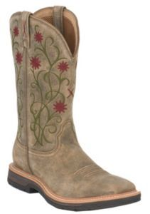Twisted X Lite Work Ladies Brown Bomber w  Floral Design Square Steel Toe  Work Boot 413240226a
