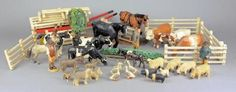 A collection of Frank Whittington 'The Forest Toys' carved and painted farm animals, to include cows, horses, sheep, pigs etc, also together with a note from the vendor stating that they were purchased 1935-38 from Brockenhurst.