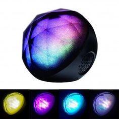 Black Portable LED Light Show Crystal Diamond Pulse Color Ball Bluetooth Speaker