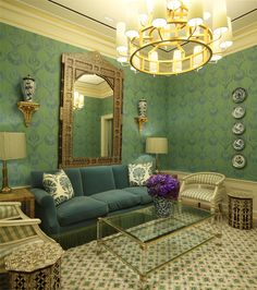Tory Burch Rodeo Drive flagship. The room's colors were inspired by Madeleine Castaing.