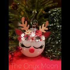 Hand-crafted Rudolph the red nosed reindeer ornament! 🦌 Great addition to your Christmas tree or as a gift Reindeer Christmas Gift, Christmas Globes, Kids Christmas Ornaments, Reindeer Ornaments, Christmas Crafts For Gifts, Handmade Christmas, Christmas Tree Ornaments, Christmas Diy, Reindeer Noses