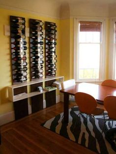 Fantastic vertical wine rack for those big on wine and small on space.