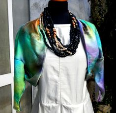 handpainted silk shoulder cover jacket one of a kind at Ms. Emma's Toronto