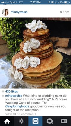 I want our cake to look like a stack of Banaba pancakes but be an actual cake inside :)