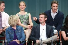 (the back of Monica Potter's hair - for the haircut) Dax Shepard and Peter Krause - 2013 Summer TCA Tour - Day 4