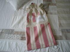 sac à pain en métis et toile rayée rouge écrue : Cuisine et service de table par nany-made