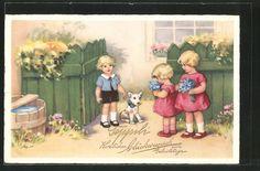 carte postale ancienne: CPA Illustrateur Lia Döring: Fille gratulieren avec des fleurssträussen einem Jungen zum Geburtstag, chien
