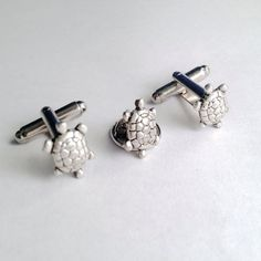 Men's Handcrafted Silver Metal Tiny Turtles by Lynx2Cuffs on Etsy, $24.99