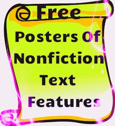 Free colorful posters of nonfiction text features! Each text feature is well explained and illustrated!