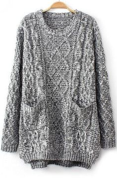 Grey Long Sleeve Cable Knit Pockets Sweater pictures