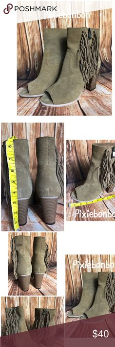 """MIA """"Coty"""" suede fringe open toe booties Cute open-toe booties. Genuine suede with zip sides and fringe. Worn once, soles in great condition other than darkening from one time wear. Suede is slightly off color as seen in photos. Mia Shoes Ankle Boots & Booties"""