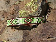 Beaded dog collar / feather design by LeathernBeads on Etsy, $40.00