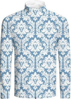 White on Light Blue #Damask #Jacket from @Zandiepants and #PrintAllOverMe -- Unique damask pattern with floral elements in white on a light blue background.