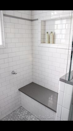 We chose shiny white subway tile with light gray grout for the walls, with an accent line of gray tile. We chose shiny white subway tile with light gray grout for the walls, with an accent line of gray tile. Upstairs Bathrooms, Downstairs Bathroom, Laundry In Bathroom, Bathroom Renos, Bathroom Renovations, Bathroom Canvas, White Tile Bathrooms, Remodled Bathrooms, Bathroom Storage