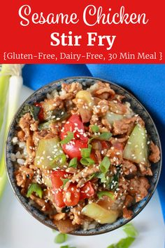 You will love this Sesame Chicken Stir Fry for an easy, weeknight dinner. It's gluten-free, dairy-free and takes just 25 minutes to prepare! Healthy Gluten Free Recipes, Healthy Salad Recipes, Healthy Chicken Recipes, Asian Recipes, Recipe Chicken, Vegetarian Meals, Healthy Food, Chicken Stir Fry, Asian Chicken