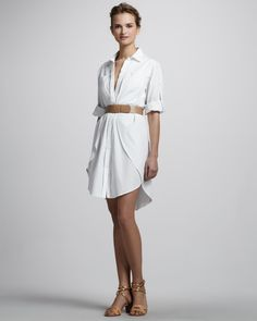 Halston Heritage Belted Shirtdress with Overlay Belted Shirt Dress, Denim Shirt Dress, Spring Outfits Women, Casual Dresses For Women, Summer Fashions, Distressed Dress, Halston Heritage, Shirtdress, Overlay