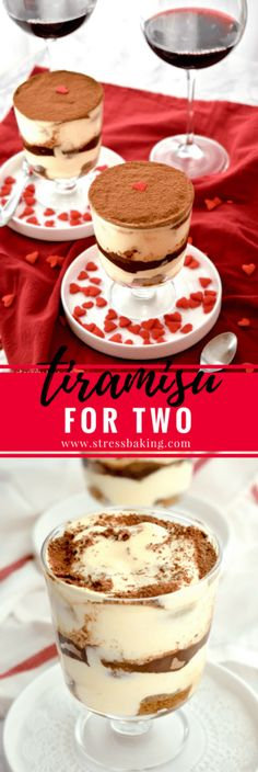 Tiramisu (for Two!) Tiramisu for Two: Creamy, rich layers bursting with the flavors of espresso and liqueur - made especially for two! The perfect romantic Valentine's Day dessert! Dessert Oreo, Tiramisu Dessert, Dessert For Two, Valentine Desserts, Valentines Food, Ice Cream Desserts, Köstliche Desserts, Delicious Desserts, Plated Desserts