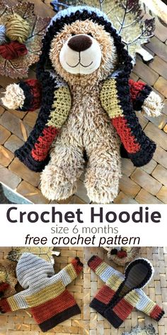6 Month Size Crochet Hoodie Free Crochet Pattern - Links for Adult and Child Sizes