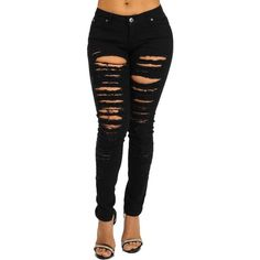 Sexy Black Ripped Destroyed Distressed Mid Rise Skinny Jeans at Amazon... ($30) ❤ liked on Polyvore featuring jeans, pants, bottoms, destroyed jeans, distressing jeans, sexy jeans, mid-rise jeans and skinny fit jeans