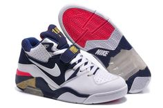 Nike Air Force 180 Mens Shoes Barkley White Dark Blue Red Hot 0