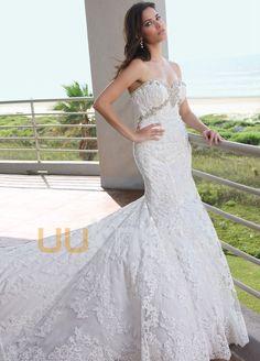 havfrue kjæreste kapell tog tyll blonder brudekjole - UUknot.com