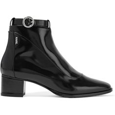 Karl Lagerfeld Polished-leather ankle boots (€185) ❤ liked on Polyvore featuring shoes, boots, ankle booties, black, black leather ankle booties, black leather boots, leather ankle boots, black booties and black leather bootie