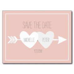 Two Hearts Save The Date Postcard #wedding #engagement #dustypink #hearts #arrows #aubergineandpurple #zazzle #invitations #grey #pink