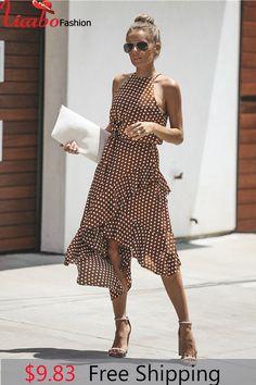 29dbc8aabcd 2018 Summer Dress Women New Fashion Halter Polka Dot Print Casual Dress  Ladies Ruffles Elegant Dress 100010