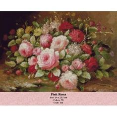 Pink Roses Rose Rise, Cross Stitch Kits, Quilling, Pink Roses, Painting & Drawing, Floral Wreath, Projects To Try, Tapestry, Drawings