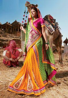 Orange And Green Color Saree - India Bollywood Индия इंडिया Indiana, Bollywood, Yoga Studio Design, India Culture, Indian People, India Colors, Colours, Lehenga Saree, Rajasthan India