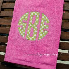 "Applique Monogram Beach Towel - applique measures 7.5"" - 30""x60"" towel - $25.99"