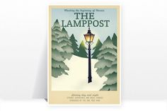 Retro Travel Poster - Narnia - The Lamppost - MANY SIZES - Modern Vintage Lion Witch Wardrobe Fantasy Snow Winter Geek Film Typography Print