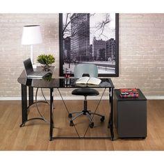 Calico Designs Monterey Black Left Side Powder-coated Steel Corner Desk