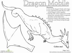 Has your child ever wanted a ferocious dragon of his own? Take to the skies with this dragon mobile pattern! Your child can create and hang this papercraft dragon from the ceiling, to admire in its glorious flight. Medieval Crafts, Medieval Art, Dragon Crafts, Dragon Art, How To Train Your, How Train Your Dragon, Dragon Mobile, Enchanted Forest Book, Dragons