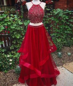 Fashion Two Piece Beading Long Prom Dresses ,Popular Party Dress,Fashion Formal Dress