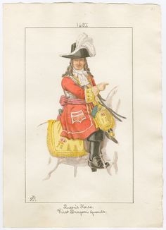 Queen's Dragoon Guards), Officer 1687 by Charles Lyall English Army, British Army Uniform, British Armed Forces, Late Middle Ages, Civil Wars, Louis Xiv, British History, Sailors, Rifles