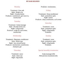 Hair regimen, I've never seen anyone break it down like this, might give a try and see how my hair likes it
